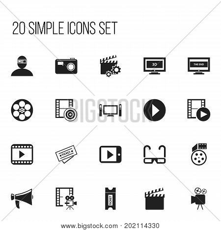 Set Of 20 Editable Cinema Icons. Includes Symbols Such As Clapperboard, Cinematography, Tablet Play And More