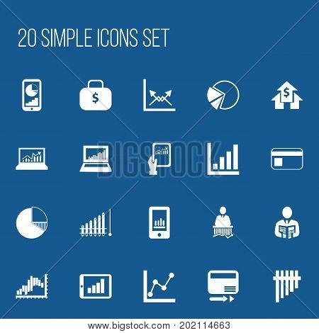 Set Of 20 Editable Logical Icons. Includes Symbols Such As Banking House, Businessman, Schema And More