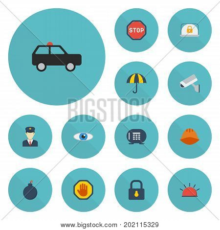 Flat Icons Siren, Lock, Armored Car And Other Vector Elements