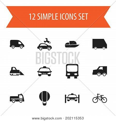 Set Of 12 Editable Transportation Icons. Includes Symbols Such As Taxi, Delivery, Autobus And More