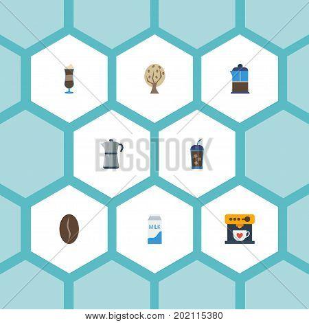 Flat Icons Mocha, Beverage, Moka Pot And Other Vector Elements