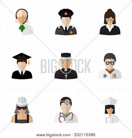 Set Of 9 Editable Occupation Flat Icons. Includes Symbols Such As Officer, Padre, Graduate And More