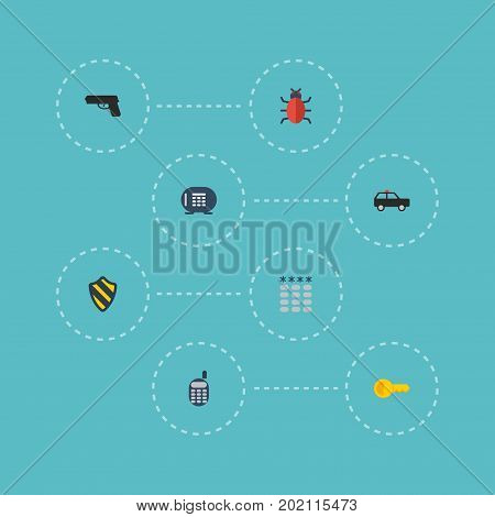 Flat Icons Virus, Gun, Safe And Other Vector Elements
