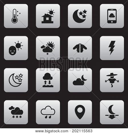 Set Of 16 Editable Climate Icons. Includes Symbols Such As Bugbear, Precipitation, Moonlight And More
