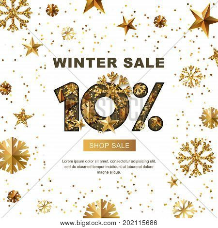 Winter Sale 10 Percent Off, Vector Banner With 3D Gold Stars And Snowflakes. Paper Cut Style 10 Disc