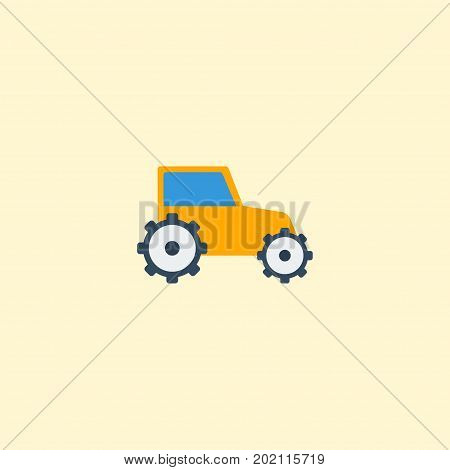 Flat Icon Tractor Element. Vector Illustration Of Flat Icon Farm Vehicle Isolated On Clean Background