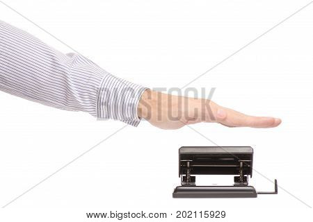 Male hands punching paper on white background isolation