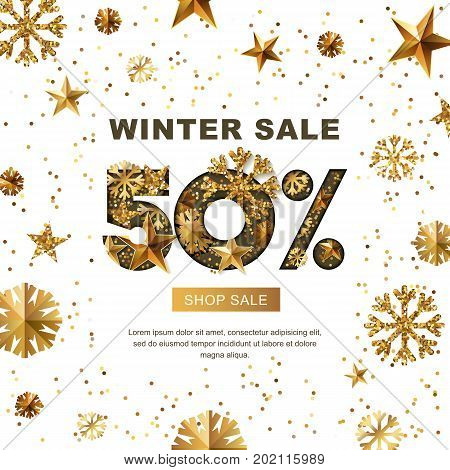 Winter Sale 50 Percent Off, Vector Banner With 3D Gold Stars And Snowflakes. Paper Cut Style 50 Disc