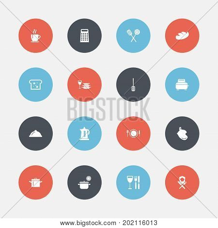 Set Of 16 Editable Kitchen Icons. Includes Symbols Such As Baguette, Dish, Bread And More