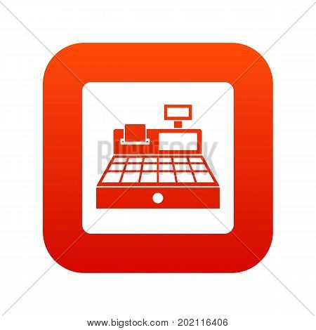 Sale cash register icon digital red for any design isolated on white vector illustration
