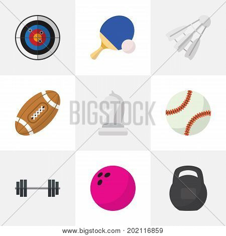 Set Of 9 Editable Training Flat Icons. Includes Symbols Such As Glob, Kegling, Tennis And More