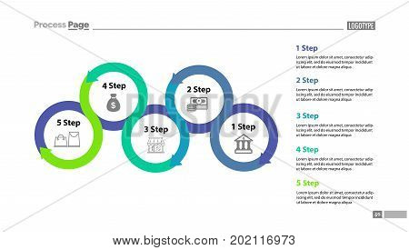 Five step process chart with descriptions. Diagram, strategy, plan. Concept for presentation, templates, annual reports. Can be used for topics like planning, marketing, trade