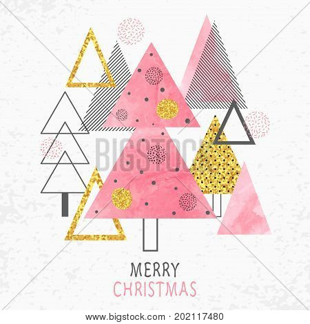Merry Christmas card design in retro style. Stylized watercolor and glittering Christmas trees. Vector holiday illustration.