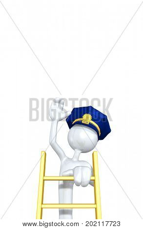 The Original 3D Character Police Officer Illustration Climbing A Ladder