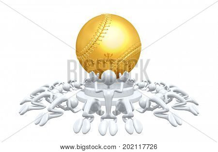 A Group Of The Original 3D Characters Illustration Worshiping A Baseball