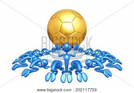 A Group Of The Original 3D Characters Illustration Worshiping A Soccer Ball