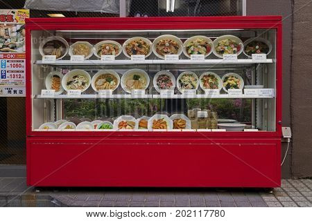 Tokyo, Japan -  May 11, 2017: Display of replica food outdoors in front of a restaurant