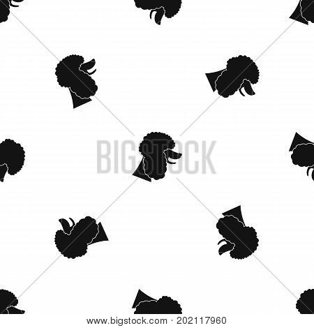 Poodle dog pattern repeat seamless in black color for any design. Vector geometric illustration