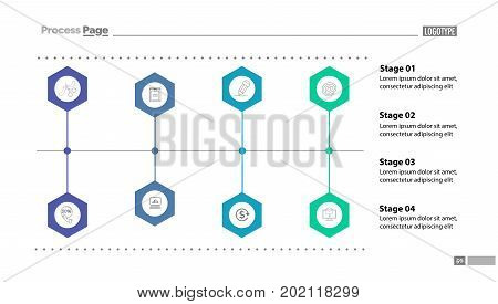 Four stages flow chart slide template. Diagram, flowchart, infographic. Concept for presentation, templates, annual reports. Can be used for topics like starting business, networking, management