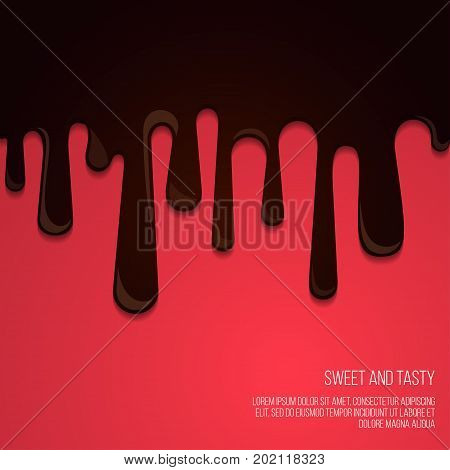 Melted chocolate Vector template Dark melted chocolate is dripping on red background Illustration in cartoon style with space for text