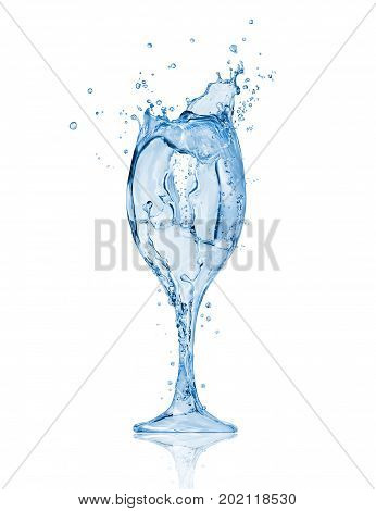 Wineglass made of water splashes. Conceptual image isolated on white background
