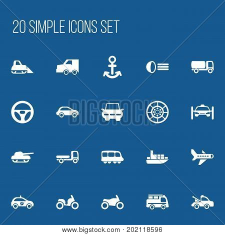 Set Of 20 Editable Transportation Icons. Includes Symbols Such As City Drive, Sheriff, Motorbike And More