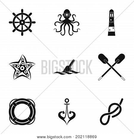 Marine icons set. Simple style set of 9 marine vector icons for web design