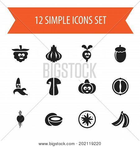 Set Of 12 Editable Kitchenware Icons. Includes Symbols Such As Pumpkin, Radish, Jungle Fruit And More