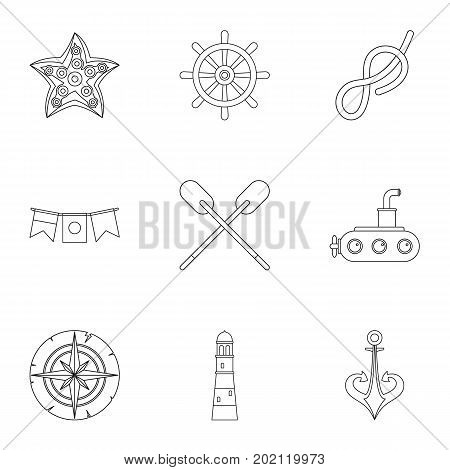 Naval icons set. Outline style set of 9 naval vector icons for web design