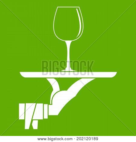 Waiter hand holding tray with wine glass icon white isolated on green background. Vector illustration