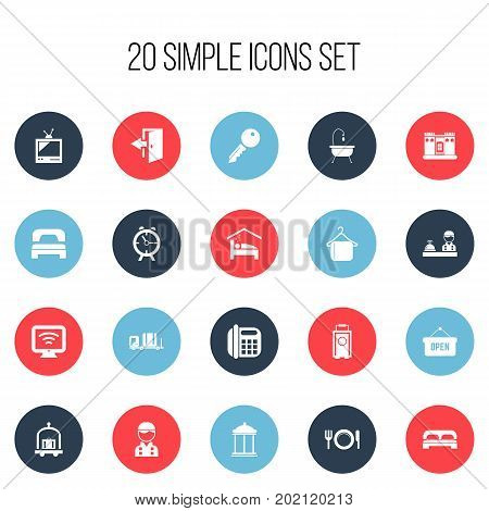 Set Of 20 Editable Travel Icons. Includes Symbols Such As Check In, Trolley, Employee And More