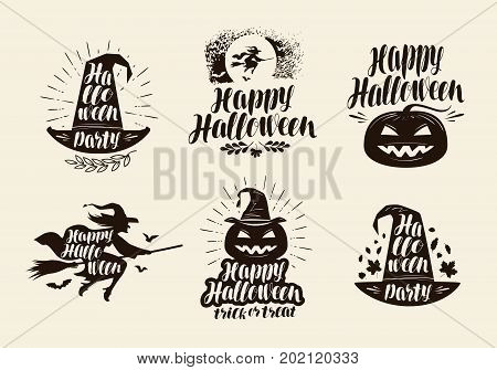 Halloween logo or label. Lettering, calligraphy vector