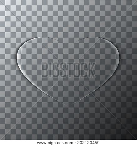 Vector modern valentines day background. Heart icon on transparent backdrop