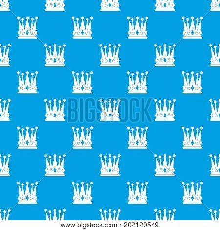 Kingly crown pattern repeat seamless in blue color for any design. Vector geometric illustration