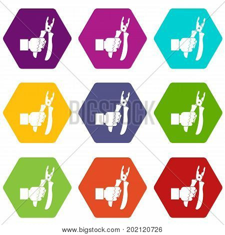 Hand holding chisel icon set many color hexahedron isolated on white vector illustration