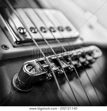 Rock guitar. Close-up view part of guitar, very popular musical instrument of the world.