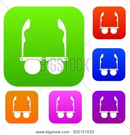 Glasses with black round lenses set icon in different colors isolated vector illustration. Premium collection