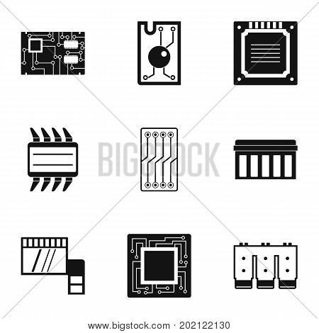 Processor icons set. Simple style set of 9 processor vector icons for web design