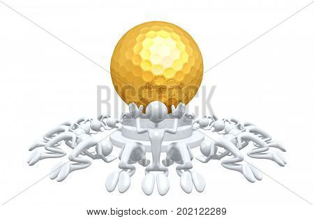 A Group Of The Original 3D Characters Illustration Worshiping A Golf Ball