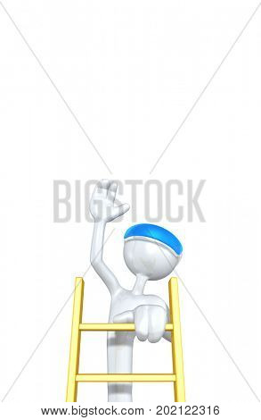 The Original 3D Character Illustration Wearing An Augmented Reality Visor Climbing A Ladder