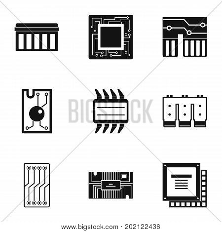 Transistor icons set. Simple style set of 9 transistor vector icons for web design