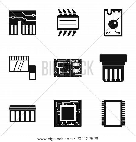 Hardware icons set. Simple style set of 9 hardware vector icons for web design