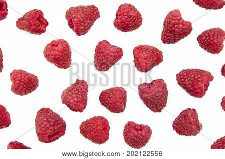 Food background - Appetizing raspberry berries isolated on white background