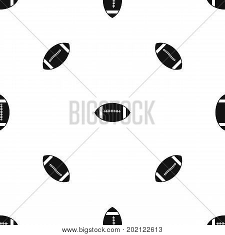 Rugby ball pattern repeat seamless in black color for any design. Vector geometric illustration