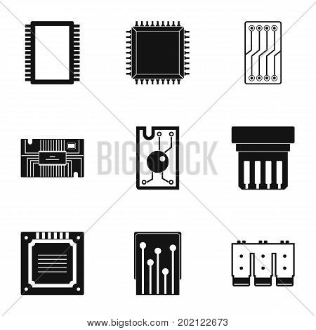 Microchip icons set. Simple style set of 9 microchip vector icons for web design