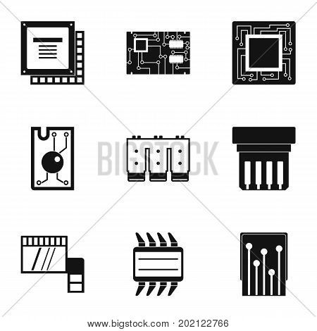 Chip icons set. Simple style set of 9 chip vector icons for web design