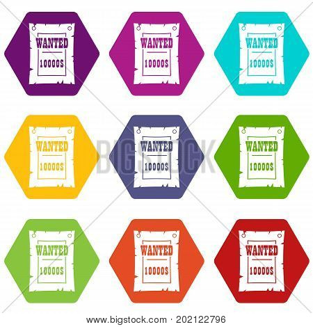 Vintage wanted poster icon set many color hexahedron isolated on white vector illustration