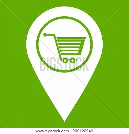 Geo tag with shopping cart symbol icon white isolated on green background. Vector illustration