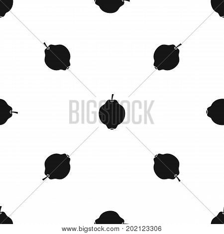 Quince fruit pattern repeat seamless in black color for any design. Vector geometric illustration