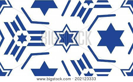Seamless pattern, with a blue star of David. Jewish ornament for textiles, fabrics, prints, postcards, flags for religious and patriotic themes of the Jewish people.